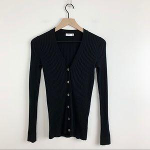 Vince   Rib Knit Black Cashmere Blend Cardigan XS